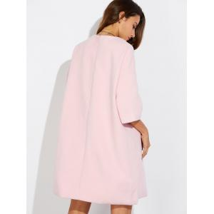 Loose Side Slit Woolen Dress - PINK XL