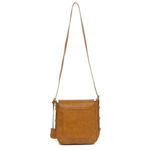 Vintage PU Leather Buckle Cross Body Bag - BROWN