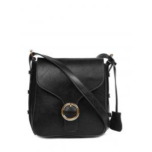 Vintage PU Leather Buckle Cross Body Bag - Black