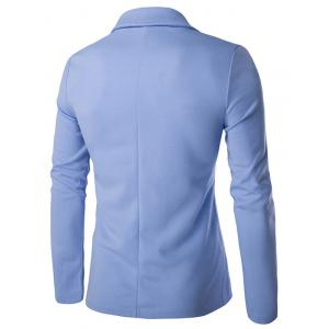 Lapel Single Breasted PU Pocket Jacket - LIGHT BLUE 2XL