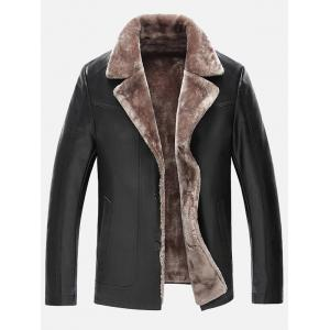 Fur Lapel Single Breasted PU Leather Jacket - Black - 2xl