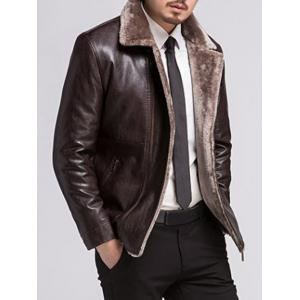 Fur Lapel Zip Up PU Leather Jacket - PURPLISH RED 3XL