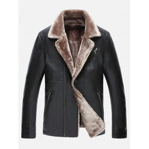 Fur Lapel Zip Up PU Leather Jacket - Black - 3xl