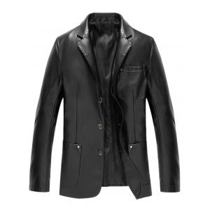 Lapel Button Up Pocket PU Leather Jacket