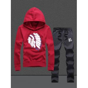 Native Printed Pullover Hoodie Twinset - Red - M