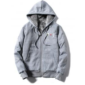 Zip Up Embroidery Hoodie Twinset - GRAY 3XL