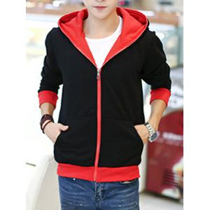 Sportive Color Block Zip Up Hoodie