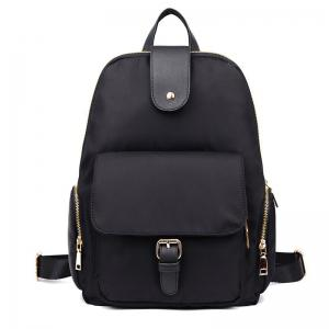 Side Zip Pockets Buckle Strap Nylon Backpack - Black - 39