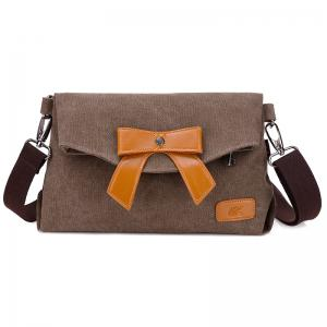 Bowknot Fold Over Canvas Crossbody Bag - Brown - 38