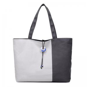Pendant Canvas Color Block Shoulder Bag - Gray - 40