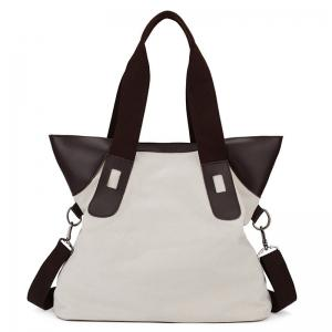 PU Leather Panel Canvas Shoulder Bag - White
