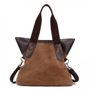 PU Leather Panel Canvas Shoulder Bag - Brown
