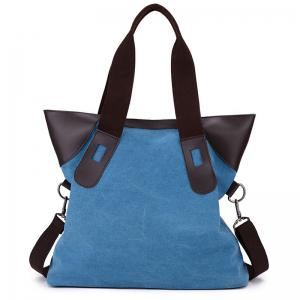 PU Leather Panel Canvas Shoulder Bag - Blue - 37