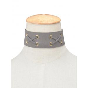 Faux Leather Velvet Lacing Choker