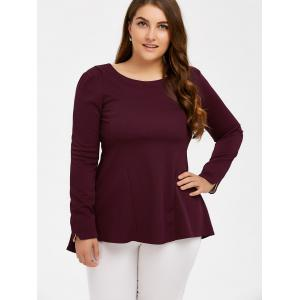Long Sleeve Skirted Top - WINE RED 5XL
