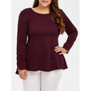 Long Sleeve Skirted Top - Wine Red - Xl