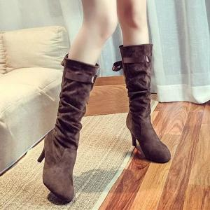 Ribbon Flock Cone Heel Mid Calf Boots - BROWN 39