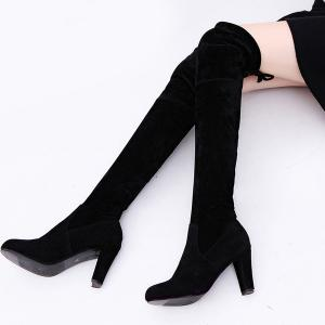 Chunky Heel Suede Thigh Boots -