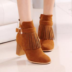 Fringe Buckle Strap Chunky Heel Boots -