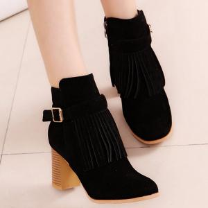 Fringe Buckle Strap Chunky Heel Boots - Black - 39