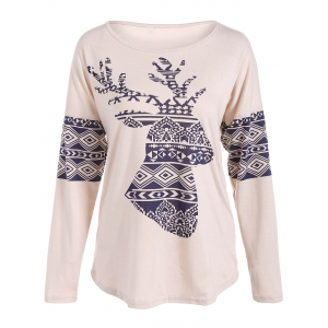 Milu Deer Print Long Sleeve T-Shirt