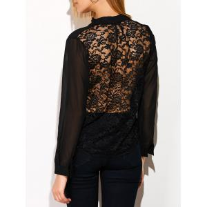 See Through Lace Back Spliced Blouse - Black - S