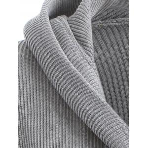 Knitted Hooded Buttoned Longline Sweater - GRAY XL
