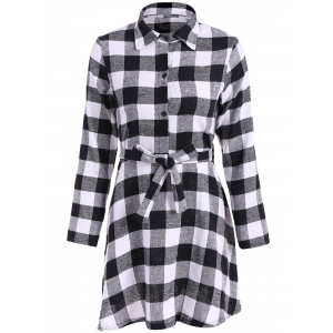 Flannel Check Belted Shirt Dress - White And Black - M