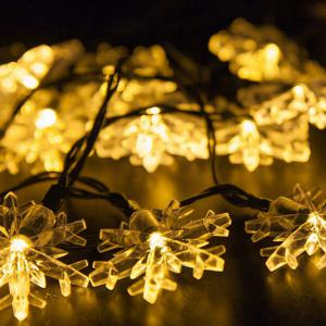 Christmas Supplies Snowflake 4.8M Solar Power LED String Light Decoration