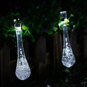 Christmas Supplies 4.8M Solar Power Waterdrop LED String Light Decoration - WHITE