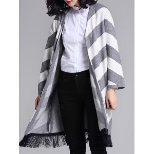 Striped Graphic Tassels Embellished Longline Cardigan -