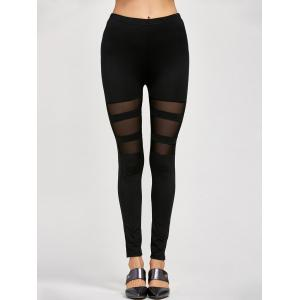 Mesh Insert Stretchy Leggings - Black - One Size