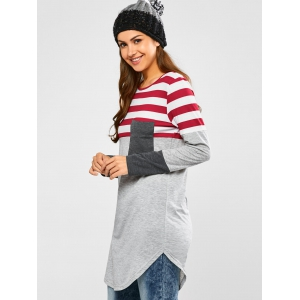 Striped Insert Longline Tee - GRAY AND RED XL