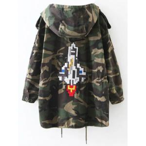 Embroidered Patched Hooded  Camo Utility Coat - ARMY GREEN XL