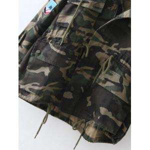 Embroidered Patched Hooded  Camo Utility Coat - ARMY GREEN XS