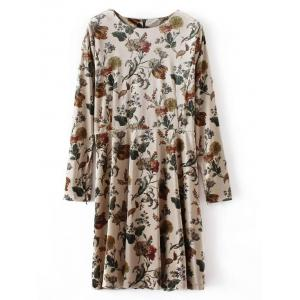 Long Sleeve Retro Floral Velvet Mini Dress