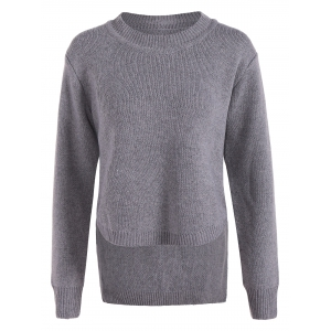 Irregular Crew Neck Sweater - Gray - One Size(fit Size Xs To M)