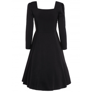 Sweetheart Neck Long Sleeve Swing Flare Dress -