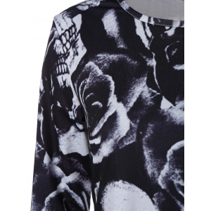 Skull Rose Printed Long Sleeve Dress - BLACK XL