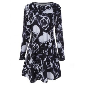 Skull Rose Printed Long Sleeve Dress - Black - S