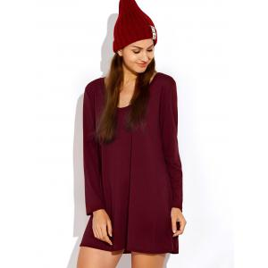 Scoop Neck Long Sleeve Dress - BURGUNDY XL