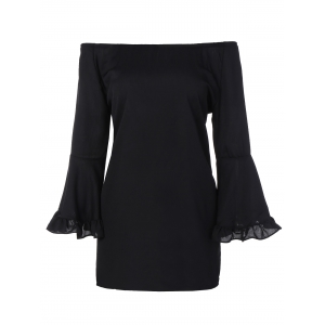 Bell Sleeve Flounce Off The Shoulder Blouse - Black - S