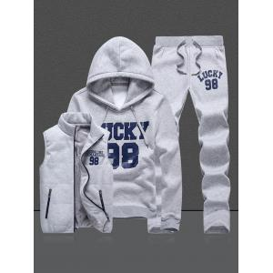 98 Lucky Printed Pullover Hoodie Three Piece Set -