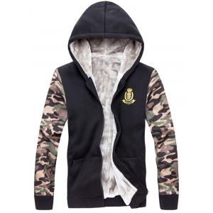 Zip Up Camo Sleeve Patch Hoodie Twinset -
