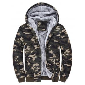 Hooded Camouflage Zip Up Fleece Hoodie - Camouflage Color - 4xl