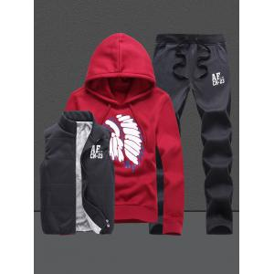 Native Printed Pullover Hoodie Three Piece Set - Red - Xl
