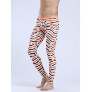 Abstract Striped Elastic Waist Thermal Long Johns - Orange - L