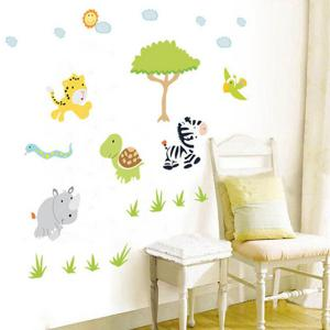 Cartoon Animals Forest Removeable Wall Sticker -