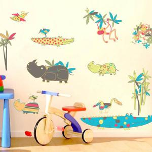Cartoon Animals World Removeable Wall Sticker -