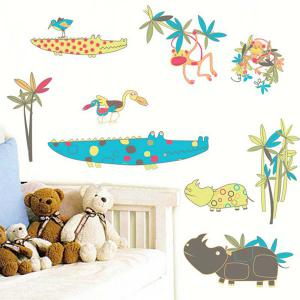 Cartoon Animals World Removeable Wall Sticker - COLORMIX